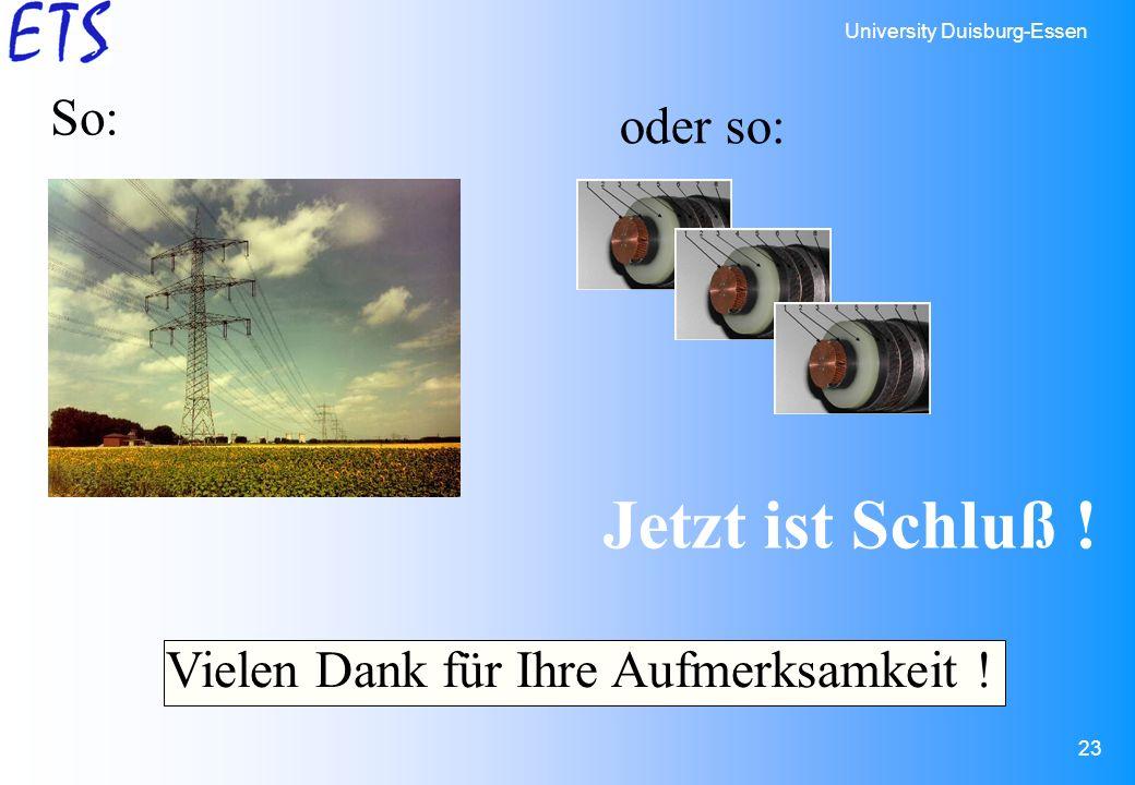 University Duisburg-Essen 23 Jetzt ist Schluß ! So: oder so: Vielen Dank für Ihre Aufmerksamkeit !