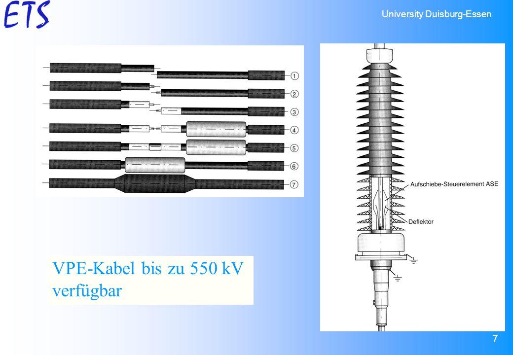 University Duisburg-Essen 7 VPE-Kabel bis zu 550 kV verfügbar