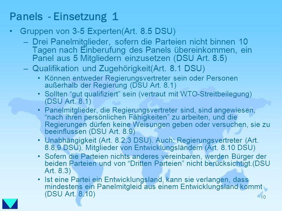 Panels - Einsetzung 1 Gruppen von 3-5 Experten(Art. 8.5 DSU) –Drei Panelmitglieder, sofern die Parteien nicht binnen 10 Tagen nach Einberufung des Pan