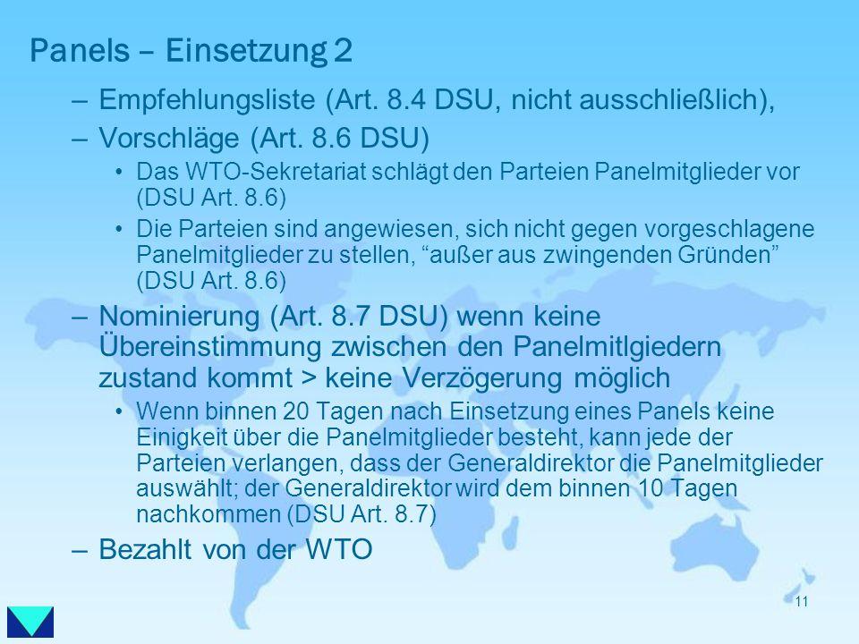 Panels – Einsetzung 2 –Empfehlungsliste (Art. 8.4 DSU, nicht ausschließlich), –Vorschläge (Art. 8.6 DSU) Das WTO-Sekretariat schlägt den Parteien Pane