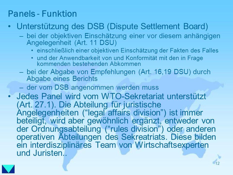 Panels - Funktion Unterstützung des DSB (Dispute Settlement Board) –bei der objektiven Einschätzung einer vor diesem anhängigen Angelegenheit (Art. 11
