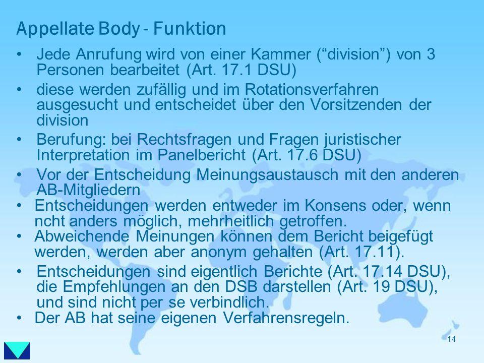 Appellate Body - Funktion Jede Anrufung wird von einer Kammer (division) von 3 Personen bearbeitet (Art. 17.1 DSU) diese werden zufällig und im Rotati