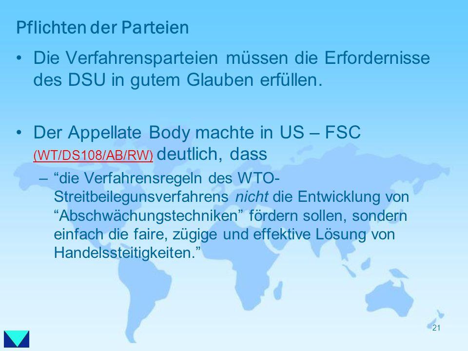 Pflichten der Parteien Die Verfahrensparteien müssen die Erfordernisse des DSU in gutem Glauben erfüllen. Der Appellate Body machte in US – FSC (WT/DS