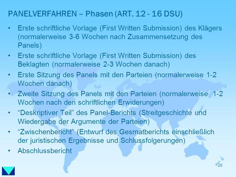 PANELVERFAHREN – Phasen (ART. 12 - 16 DSU) Erste schriftliche Vorlage (First Written Submission) des Klägers (normalerweise 3-6 Wochen nach Zusammense