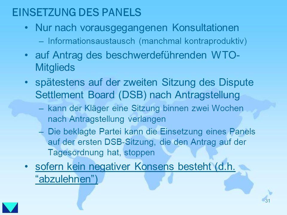EINSETZUNG DES PANELS Nur nach vorausgegangenen Konsultationen –Informationsaustausch (manchmal kontraproduktiv) auf Antrag des beschwerdeführenden WT