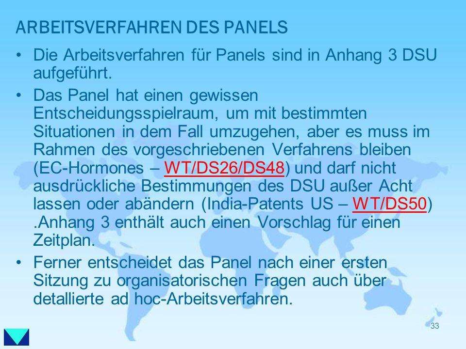ARBEITSVERFAHREN DES PANELS Die Arbeitsverfahren für Panels sind in Anhang 3 DSU aufgeführt. Das Panel hat einen gewissen Entscheidungsspielraum, um m
