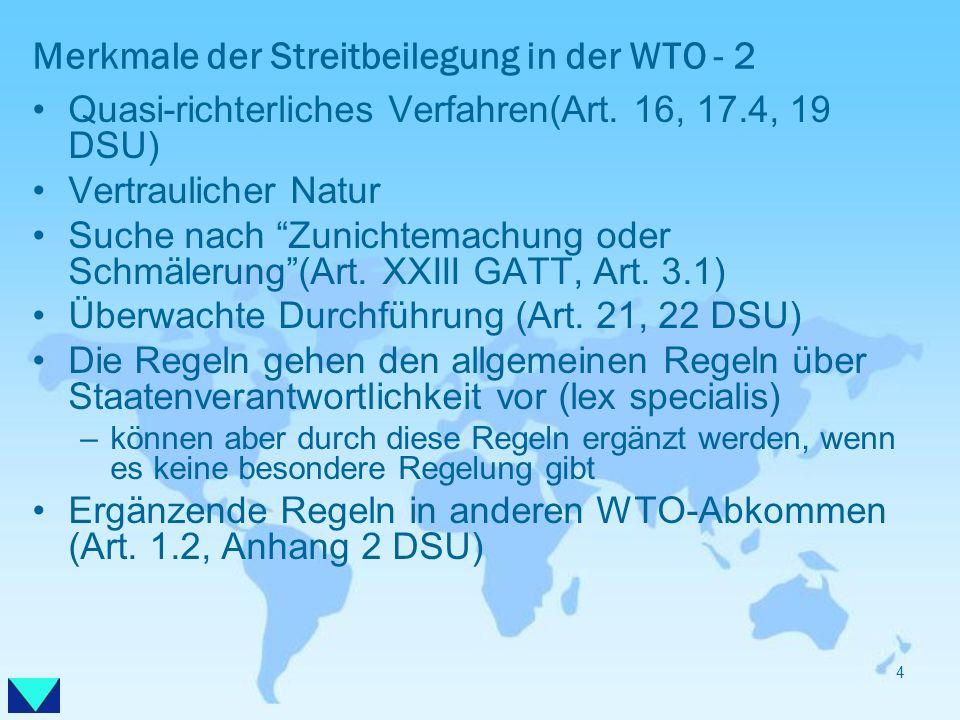 Merkmale der Streitbeilegung in der WTO - 2 Quasi-richterliches Verfahren(Art. 16, 17.4, 19 DSU) Vertraulicher Natur Suche nach Zunichtemachung oder S