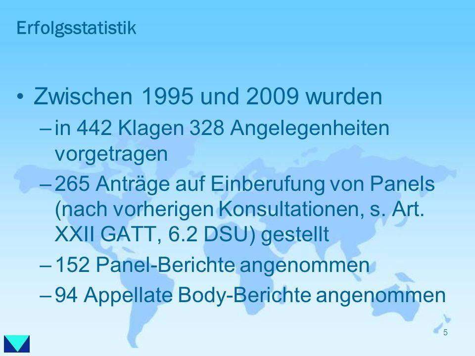 Erfolgsstatistik Zwischen 1995 und 2009 wurden –in 442 Klagen 328 Angelegenheiten vorgetragen –265 Anträge auf Einberufung von Panels (nach vorherigen