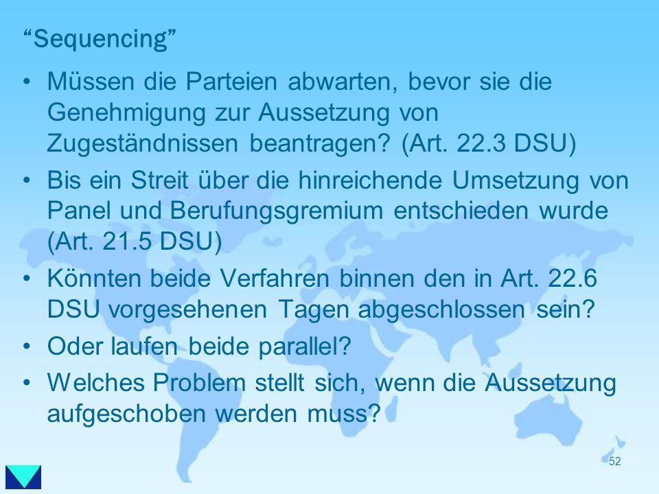 Sequencing Müssen die Parteien abwarten, bevor sie die Genehmigung zur Aussetzung von Zugeständnissen beantragen? (Art. 22.3 DSU) Bis ein Streit über