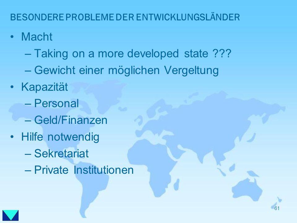 BESONDERE PROBLEME DER ENTWICKLUNGSLÄNDER Macht –Taking on a more developed state ??? –Gewicht einer möglichen Vergeltung Kapazität –Personal –Geld/Fi