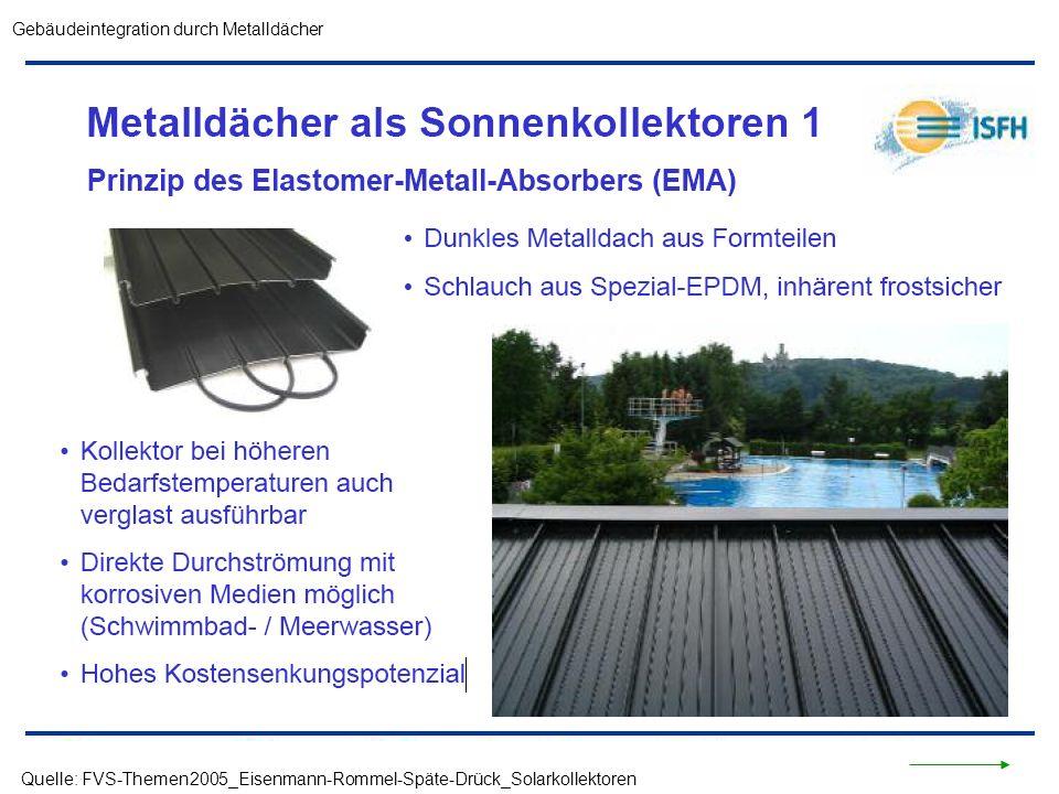 Quelle: FVS-Themen2005_Eisenmann-Rommel-Späte-Drück_Solarkollektoren Gebäudeintegration durch Metalldächer