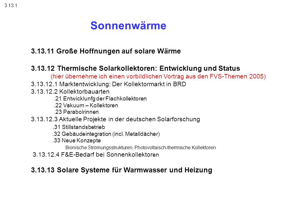 Sonnenwärme 3.13.1 3.13.11 Große Hoffnungen auf solare Wärme 3.13.12 Thermische Solarkollektoren: Entwicklung und Status (hier übernehme ich einen vor