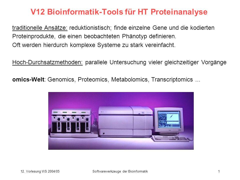 12. Vorlesung WS 2004/05Softwarewerkzeuge der Bioinformatik1 V12 Bioinformatik-Tools für HT Proteinanalyse traditionelle Ansätze: reduktionistisch; fi