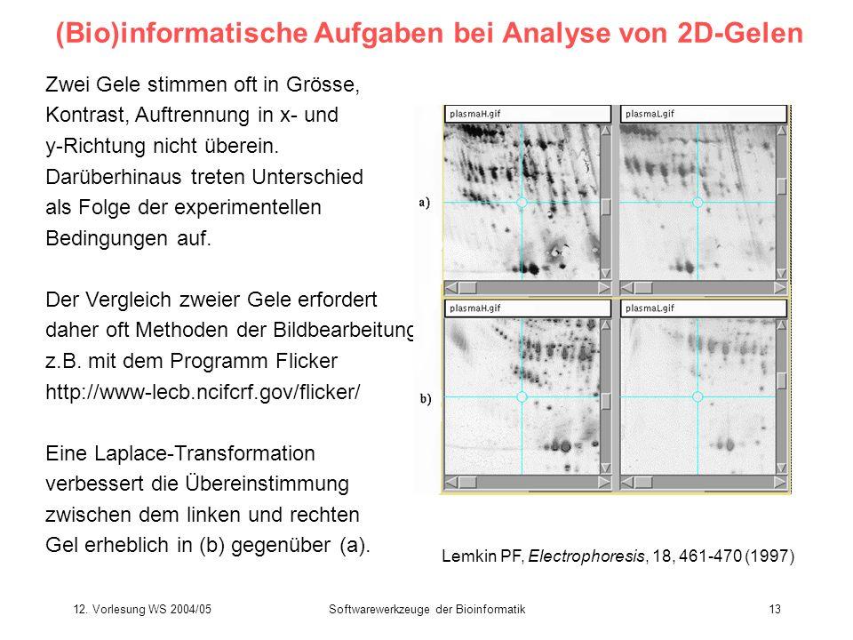 12. Vorlesung WS 2004/05Softwarewerkzeuge der Bioinformatik13 (Bio)informatische Aufgaben bei Analyse von 2D-Gelen Zwei Gele stimmen oft in Grösse, Ko