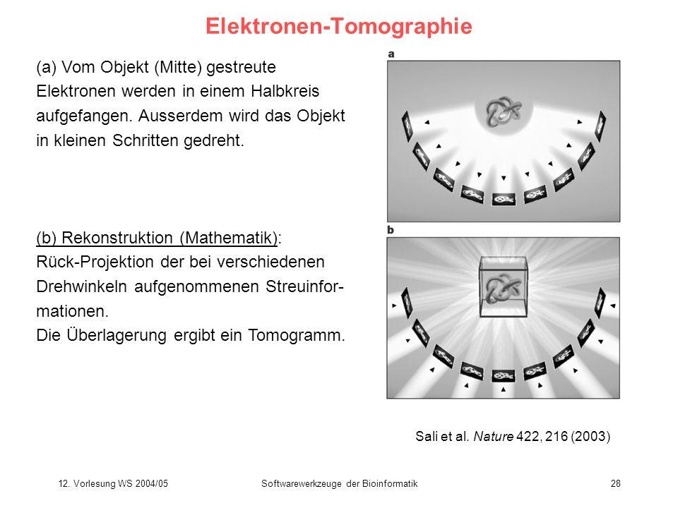 12. Vorlesung WS 2004/05Softwarewerkzeuge der Bioinformatik28 Elektronen-Tomographie (a) Vom Objekt (Mitte) gestreute Elektronen werden in einem Halbk