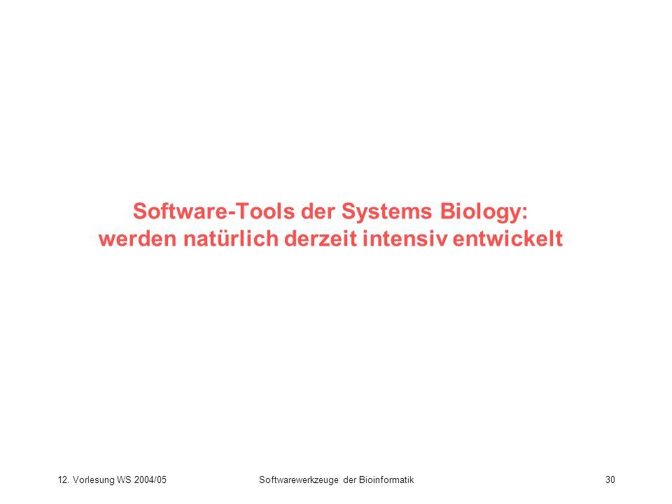 12. Vorlesung WS 2004/05Softwarewerkzeuge der Bioinformatik30 Software-Tools der Systems Biology: werden natürlich derzeit intensiv entwickelt