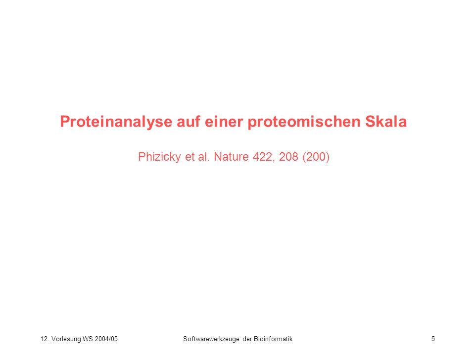 12. Vorlesung WS 2004/05Softwarewerkzeuge der Bioinformatik5 Proteinanalyse auf einer proteomischen Skala Phizicky et al. Nature 422, 208 (200)