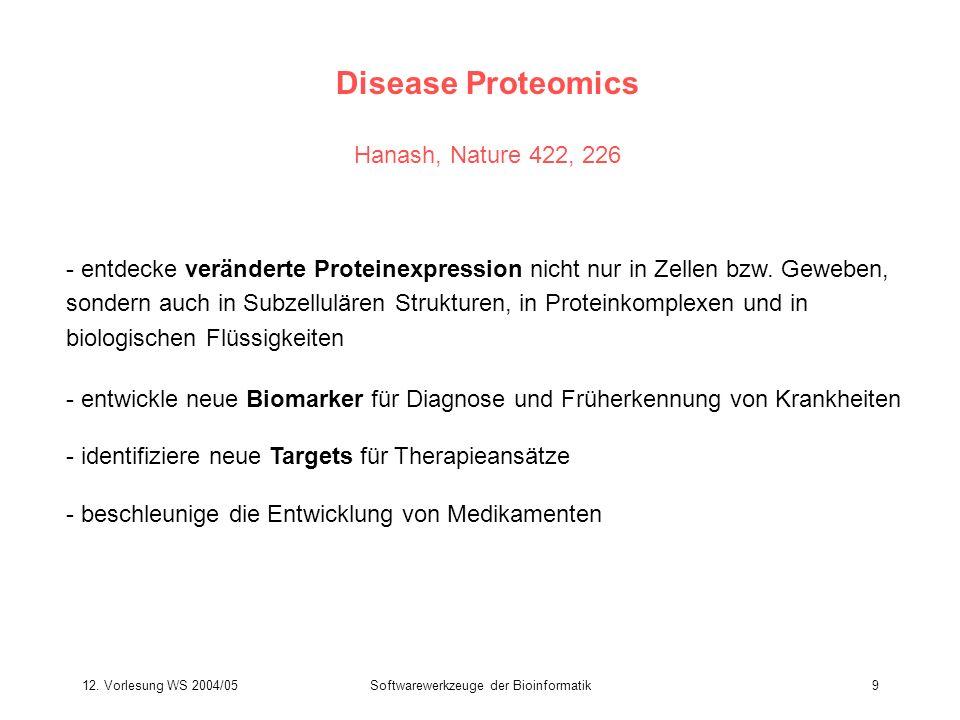12. Vorlesung WS 2004/05Softwarewerkzeuge der Bioinformatik9 Disease Proteomics Hanash, Nature 422, 226 - entdecke veränderte Proteinexpression nicht