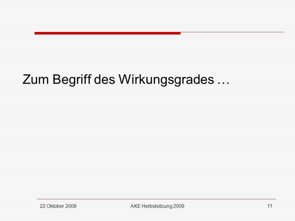 22 Oktober 2009AKE Herbstsitzung 2009 11 Zum Begriff des Wirkungsgrades …
