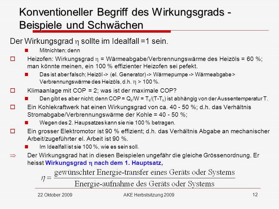 22 Oktober 2009AKE Herbstsitzung 2009 12 Konventioneller Begriff des Wirkungsgrads - Beispiele und Schwächen Der Wirkungsgrad sollte im Idealfall =1 s