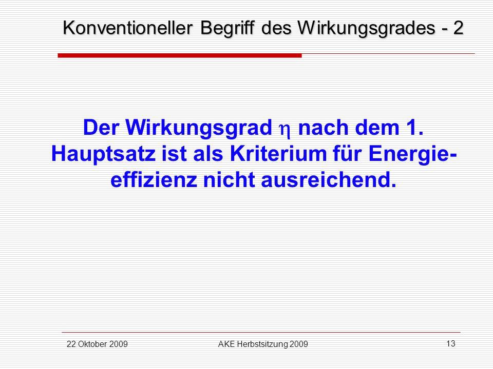 22 Oktober 2009AKE Herbstsitzung 2009 13 Der Wirkungsgrad nach dem 1. Hauptsatz ist als Kriterium für Energie- effizienz nicht ausreichend. Konvention