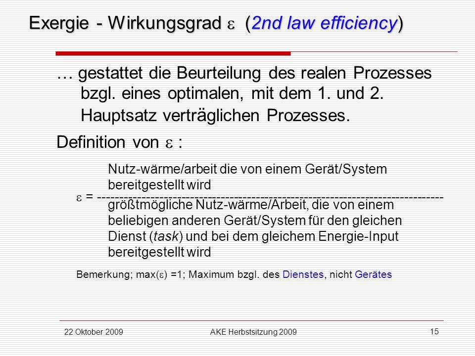 22 Oktober 2009AKE Herbstsitzung 2009 15 Exergie - Wirkungsgrad (2nd law efficiency) … gestattet die Beurteilung des realen Prozesses bzgl. eines opti