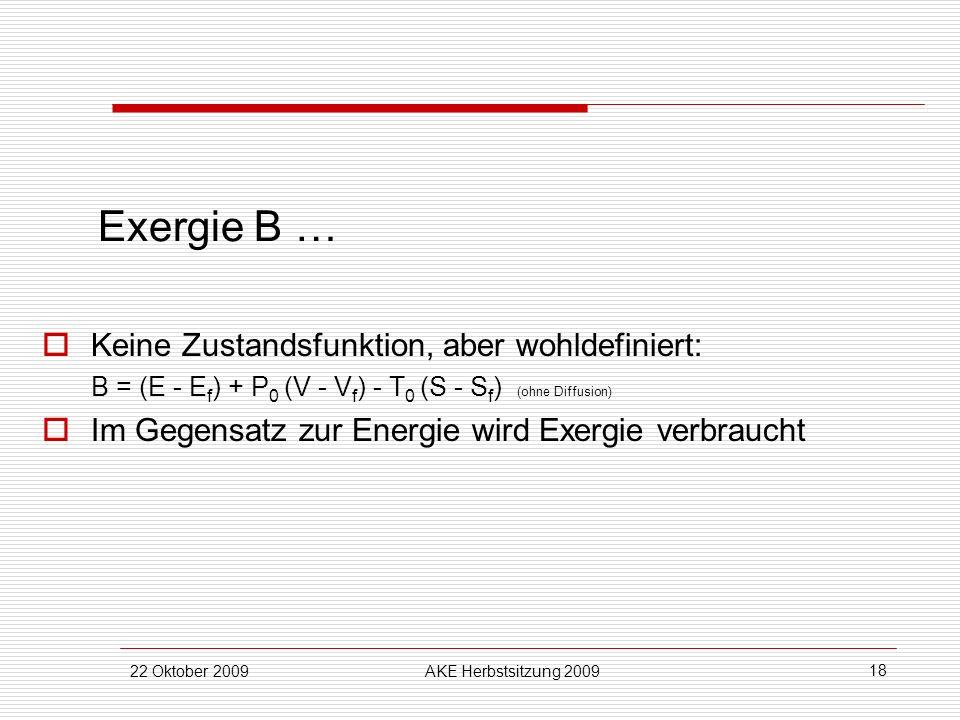 22 Oktober 2009AKE Herbstsitzung 2009 18 Exergie B … Keine Zustandsfunktion, aber wohldefiniert: B = (E - E f ) + P 0 (V - V f ) - T 0 (S - S f ) (ohn