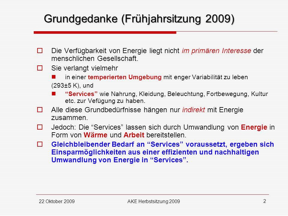 22 Oktober 2009AKE Herbstsitzung 2009 2 Grundgedanke (Frühjahrsitzung 2009) Die Verfügbarkeit von Energie liegt nicht im primären Interesse der mensch