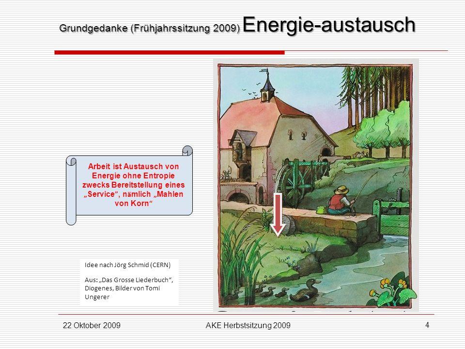 22 Oktober 2009AKE Herbstsitzung 2009 4 Arbeit ist Austausch von Energie ohne Entropie zwecks Bereitstellung eines Service, n ä mlich Mahlen von Korn