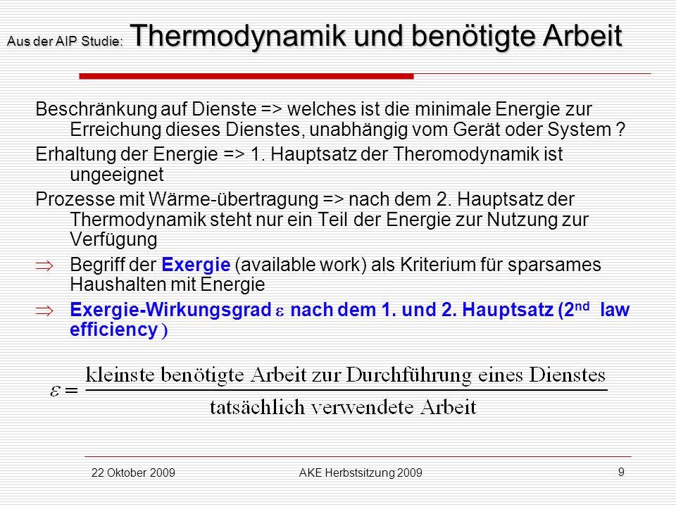 22 Oktober 2009AKE Herbstsitzung 2009 9 Aus der AIP Studie: Thermodynamik und benötigte Arbeit Beschränkung auf Dienste => welches ist die minimale En