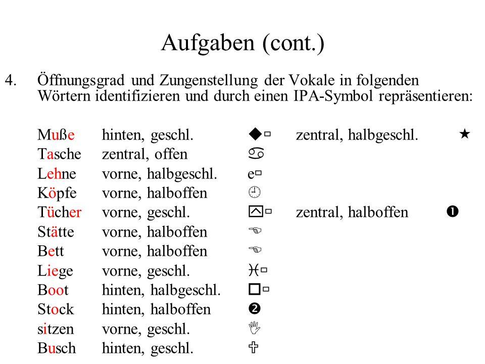 Aufgaben (cont.) 4.Öffnungsgrad und Zungenstellung der Vokale in folgenden Wörtern identifizieren und durch einen IPA-Symbol repräsentieren: Mußehinte