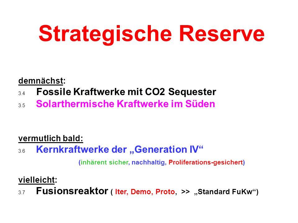 Strategische Reserve demnächst: 3.4 Fossile Kraftwerke mit CO2 Sequester 3.5 Solarthermische Kraftwerke im Süden vermutlich bald: 3.6 Kernkraftwerke der Generation IV (inhärent sicher, nachhaltig, Proliferations-gesichert) vielleicht: 3.7 Fusionsreaktor ( Iter, Demo, Proto, >> Standard FuKw)