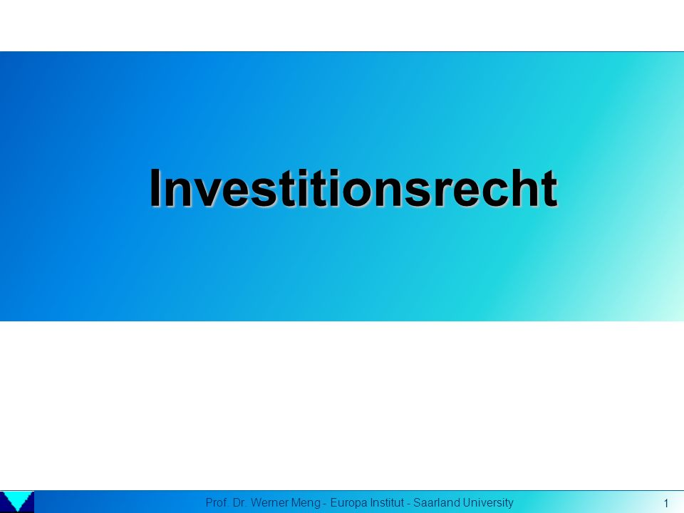 Prof. Dr. Werner Meng - Europa Institut - Saarland University 1 Investitionsrecht