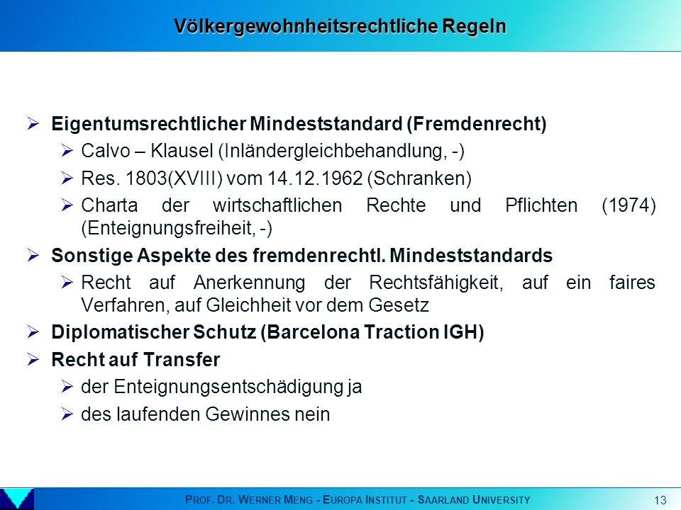 P ROF. D R. W ERNER M ENG - E UROPA I NSTITUT - S AARLAND U NIVERSITY 13 Eigentumsrechtlicher Mindeststandard (Fremdenrecht) Calvo – Klausel (Inländer