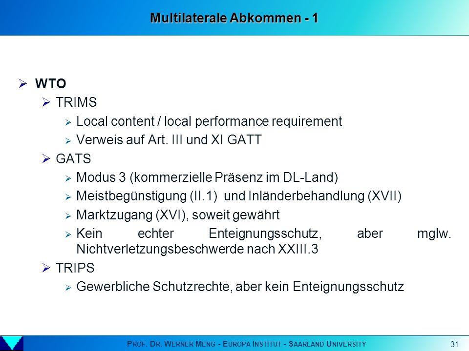 P ROF. D R. W ERNER M ENG - E UROPA I NSTITUT - S AARLAND U NIVERSITY 31 WTO TRIMS Local content / local performance requirement Verweis auf Art. III