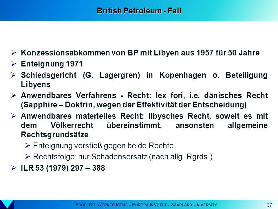 P ROF. D R. W ERNER M ENG - E UROPA I NSTITUT - S AARLAND U NIVERSITY 37 Konzessionsabkommen von BP mit Libyen aus 1957 für 50 Jahre Enteignung 1971 S