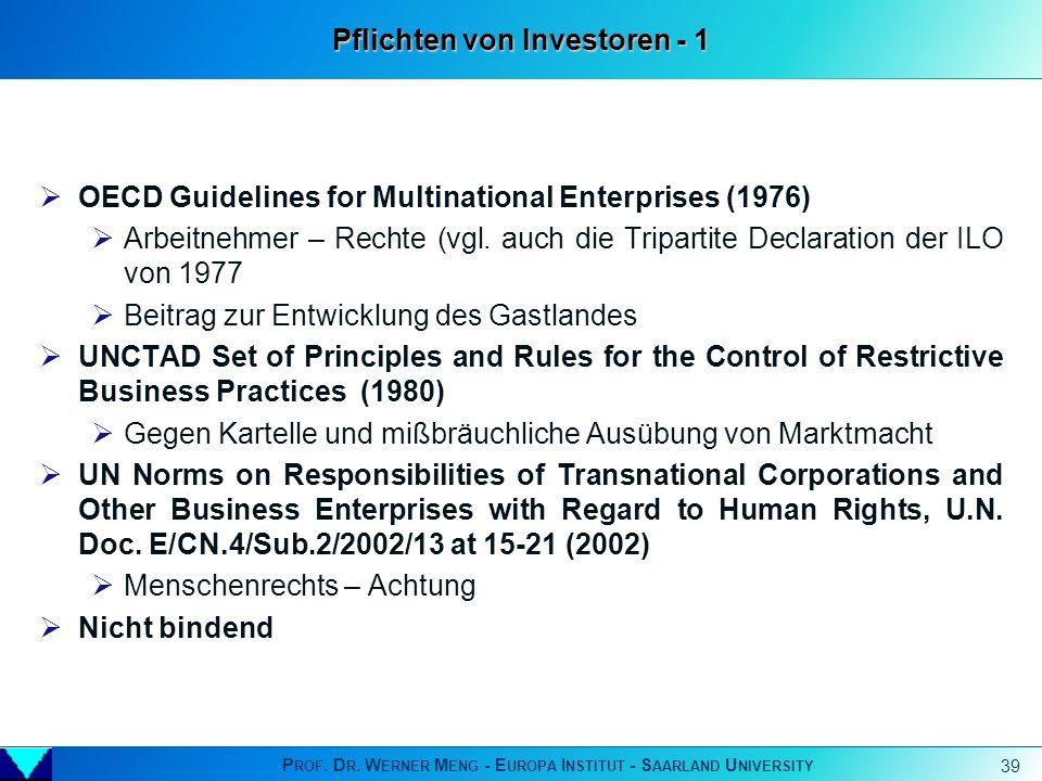 P ROF. D R. W ERNER M ENG - E UROPA I NSTITUT - S AARLAND U NIVERSITY 39 OECD Guidelines for Multinational Enterprises (1976) Arbeitnehmer – Rechte (v