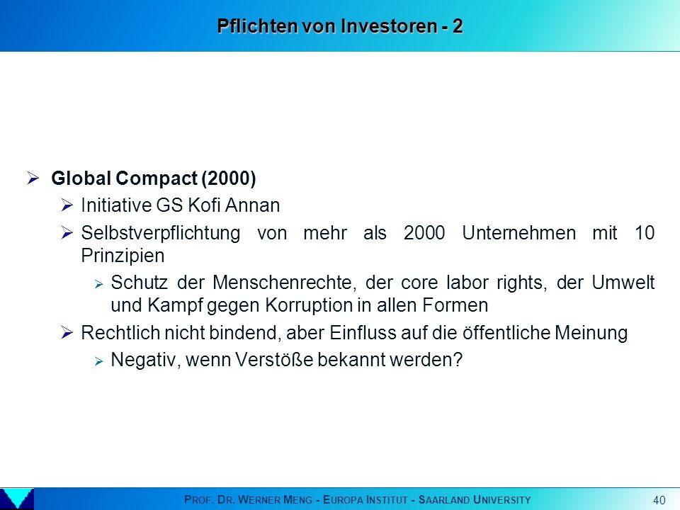P ROF. D R. W ERNER M ENG - E UROPA I NSTITUT - S AARLAND U NIVERSITY 40 Global Compact (2000) Initiative GS Kofi Annan Selbstverpflichtung von mehr a