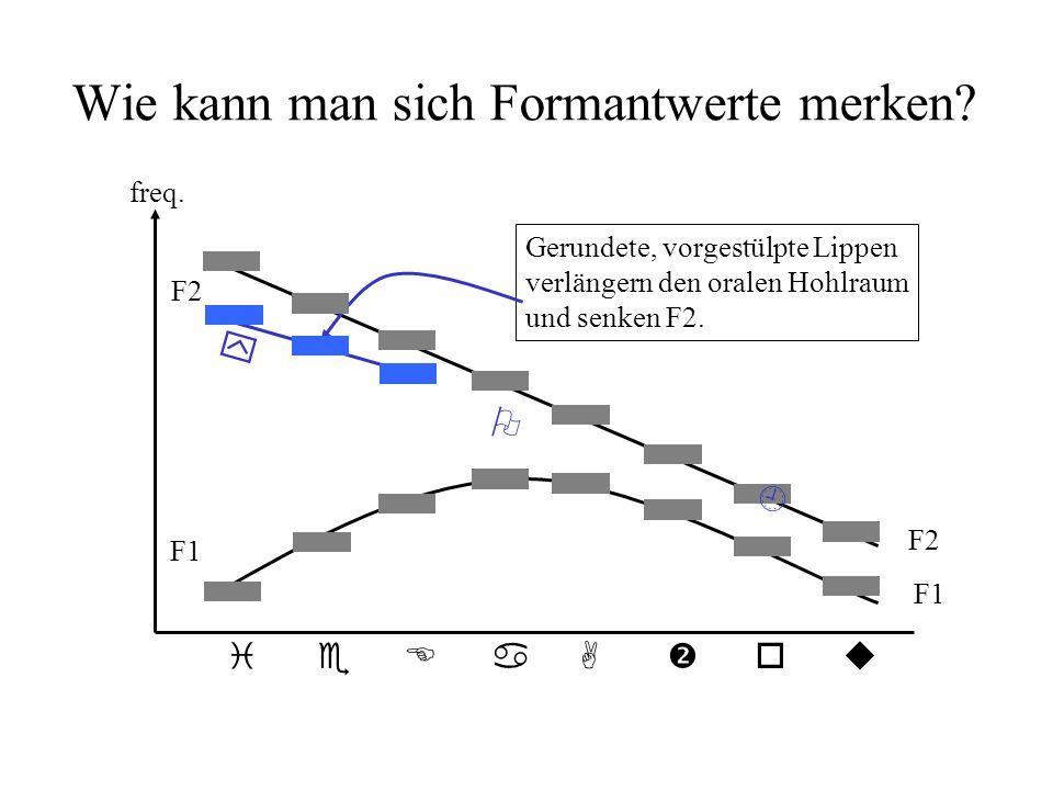 Hohlräume und Vokalqualität Hier werden die Werte des ersten und des zweiten Formanten (F1 & F2) im Verhältnis Zweiter Formant (Hz) einerseits zum Pha