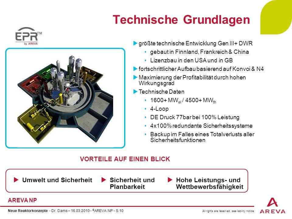 All rights are reserved, see liability notice. AREVA NP Neue Reaktorkonzepte - Dr. Dams – 16.03.2010 - © AREVA NP - S.10 Technische Grundlagen größte