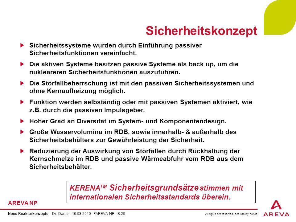 All rights are reserved, see liability notice. AREVA NP Neue Reaktorkonzepte - Dr. Dams – 16.03.2010 - © AREVA NP - S.20 Sicherheitskonzept Sicherheit