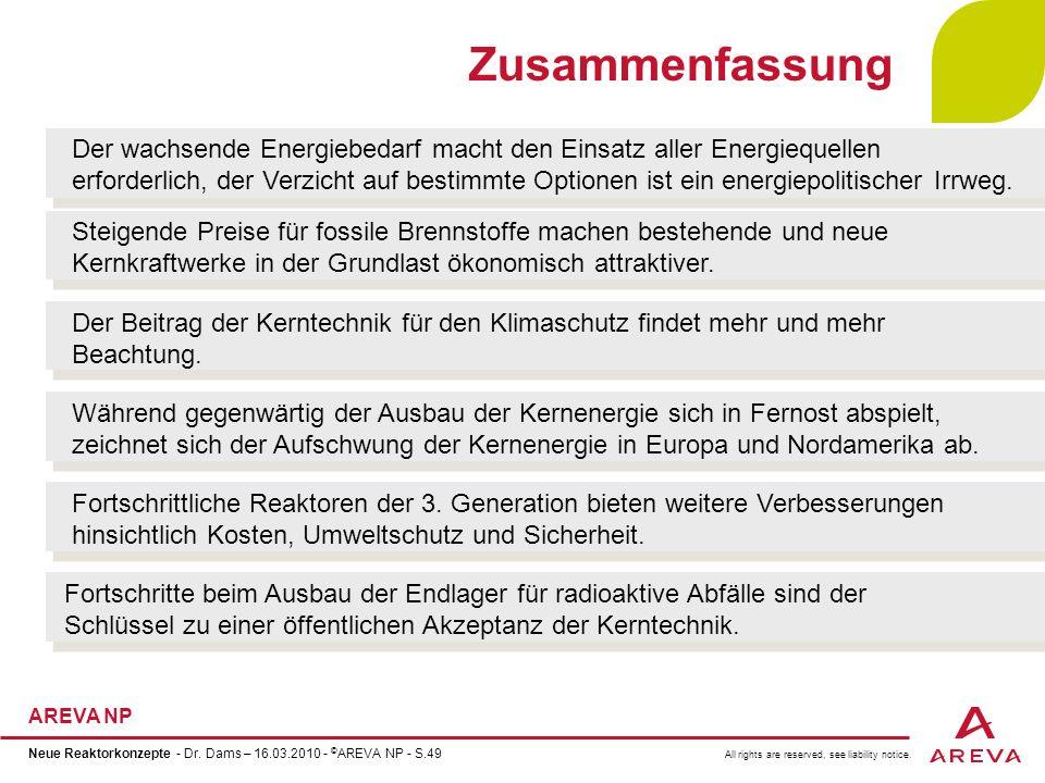 All rights are reserved, see liability notice. AREVA NP Neue Reaktorkonzepte - Dr. Dams – 16.03.2010 - © AREVA NP - S.49 Zusammenfassung Der wachsende