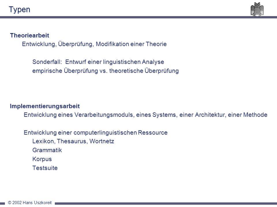 © 2002 Hans Uszkoreit Typen Theoriearbeit Entwicklung, Überprüfung, Modifikation einer Theorie Entwicklung, Überprüfung, Modifikation einer Theorie So