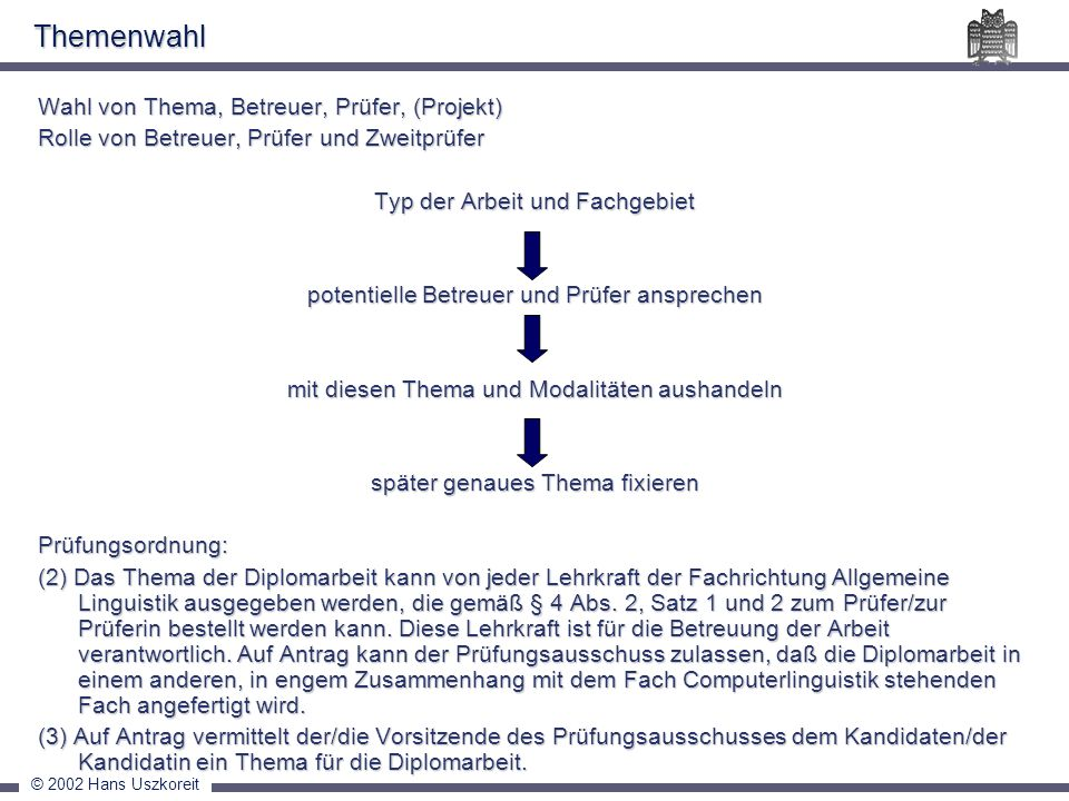 © 2002 Hans Uszkoreit Themenwahl Wahl von Thema, Betreuer, Prüfer, (Projekt) Rolle von Betreuer, Prüfer und Zweitprüfer Typ der Arbeit und Fachgebiet