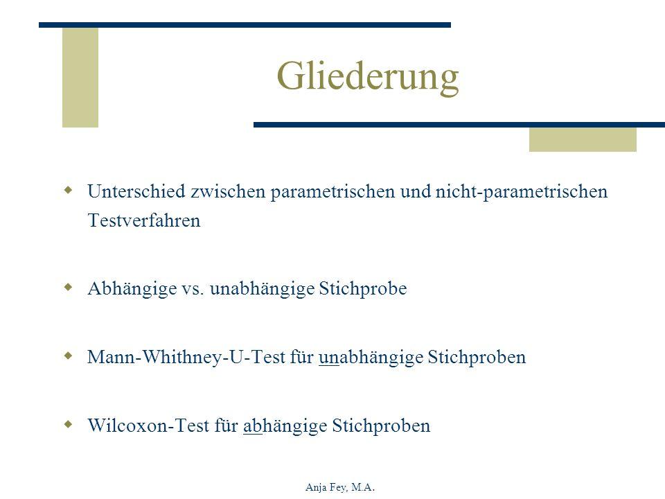 Anja Fey, M.A. Gliederung Unterschied zwischen parametrischen und nicht-parametrischen Testverfahren Abhängige vs. unabhängige Stichprobe Mann-Whithne