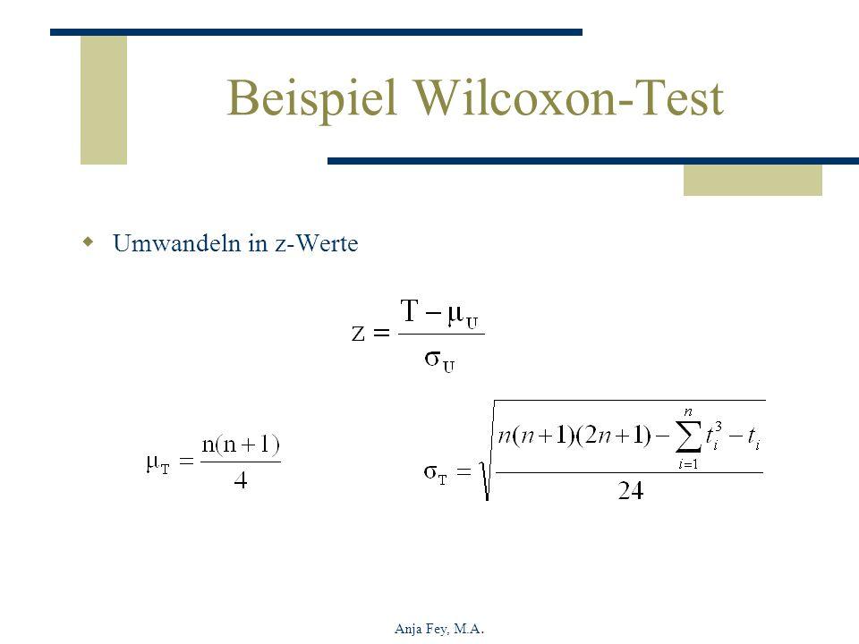 Anja Fey, M.A. Beispiel Wilcoxon-Test Umwandeln in z-Werte