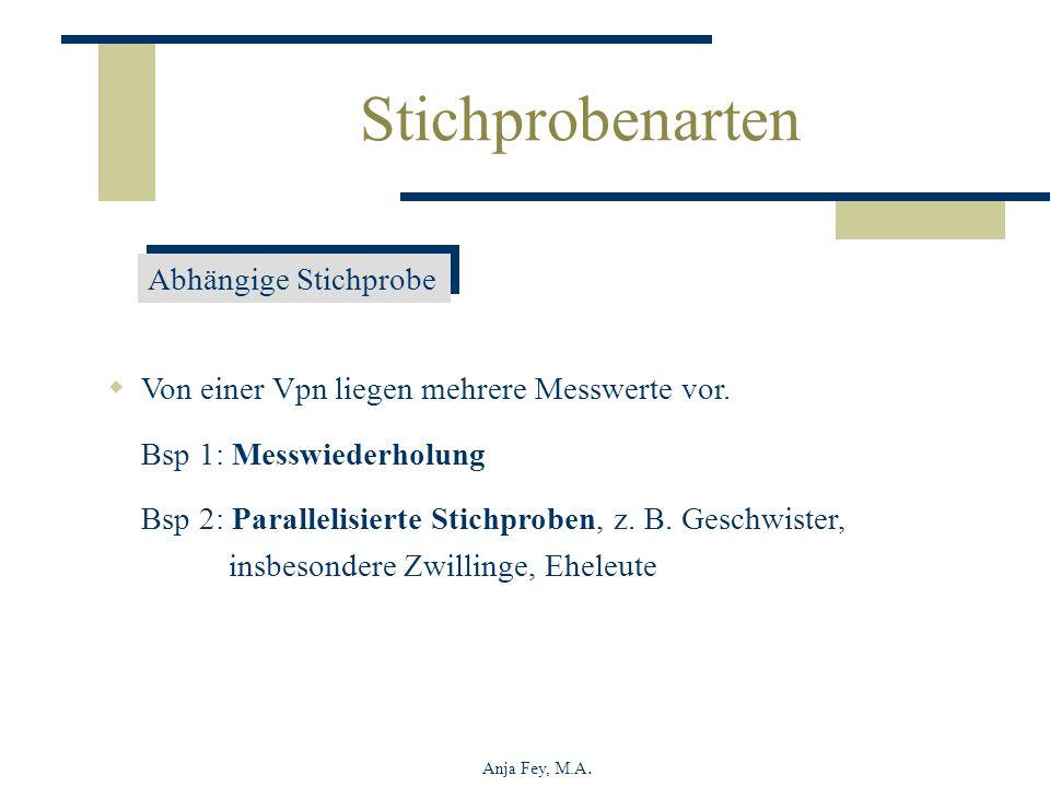 Anja Fey, M.A. Abhängige Stichprobe Von einer Vpn liegen mehrere Messwerte vor. Bsp 1: Messwiederholung Bsp 2: Parallelisierte Stichproben, z. B. Gesc