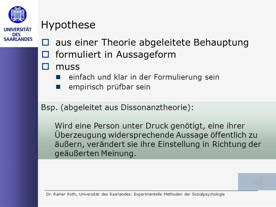 Dr. Rainer Roth, Universität des Saarlandes: Experimentelle Methoden der Sozialpsychologie Hypothese aus einer Theorie abgeleitete Behauptung formulie