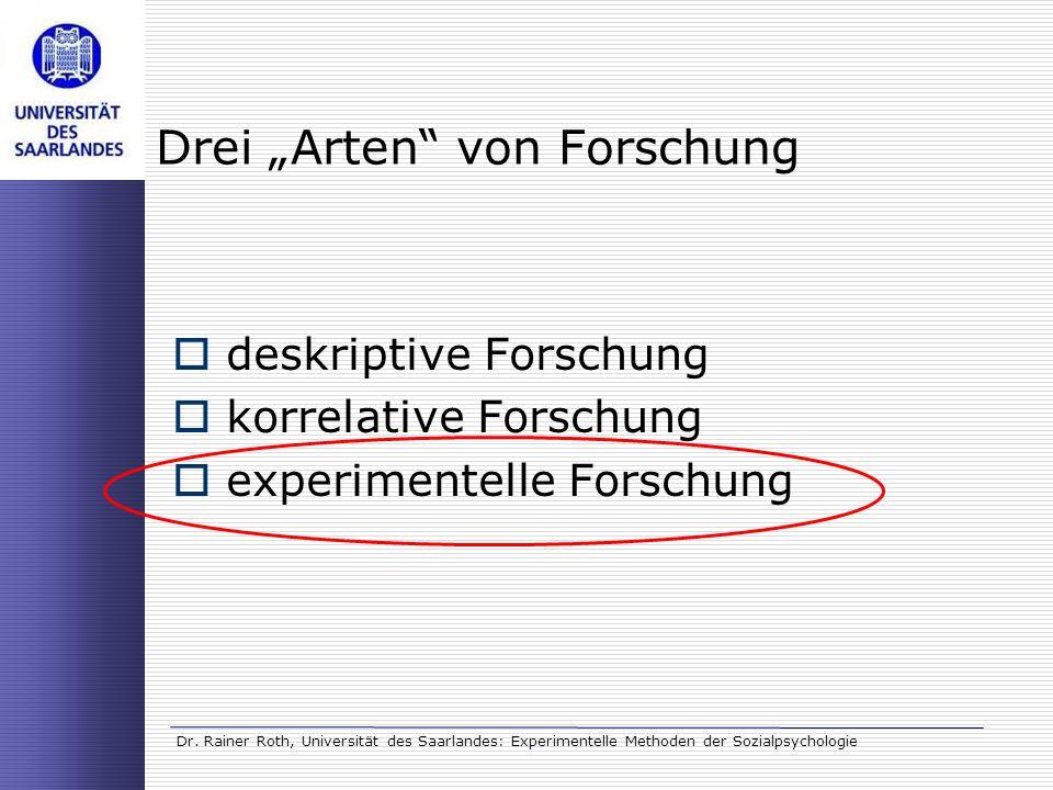 Dr. Rainer Roth, Universität des Saarlandes: Experimentelle Methoden der Sozialpsychologie Drei Arten von Forschung deskriptive Forschung korrelative