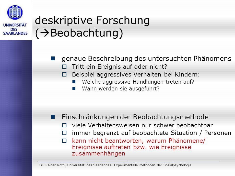 Dr. Rainer Roth, Universität des Saarlandes: Experimentelle Methoden der Sozialpsychologie deskriptive Forschung ( Beobachtung) genaue Beschreibung de